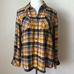 Lane Bryant Fall Plaid Flannel Yellow Button-up